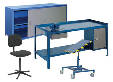 General, heavy and super duty work benches, Square tube work benches, Cantilever work benches, Wide span work benches, Stainless steel work benches, Sliding door work benches