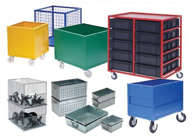 Galvanised Work Pans, Container Dollies, Galvanised Steel Stacking Baskets